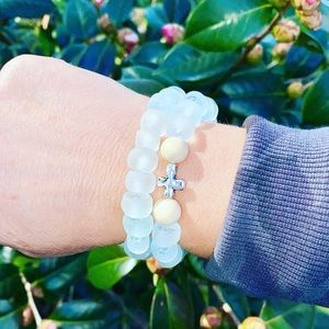 Recycled Glass Bead Bracelets, perfect for summer!